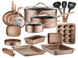 20-Piece Nonstick Kitchen Cookware Set - PTFEPFOAPFOS-Free Heat Resistant Lacquer Kitchen Ware Pots Baking Pan Set wSaucepan, Frying Pans, Cooking Pots, Oven Pot, Lids, Utensil