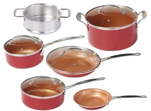 BulbHead Red Copper 10 PC Copper Infused Ceramic Non Stick Cookware Set